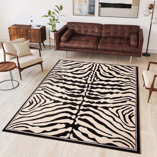 Tapiso Atlas PP Vloerkleed Woonkamer Slaapkamer Zwart Wit Zebra Modern Woonsfeer Design Interieur Hoogwaardig Duurzaam Tapijt Maat - 140 x 200 cm