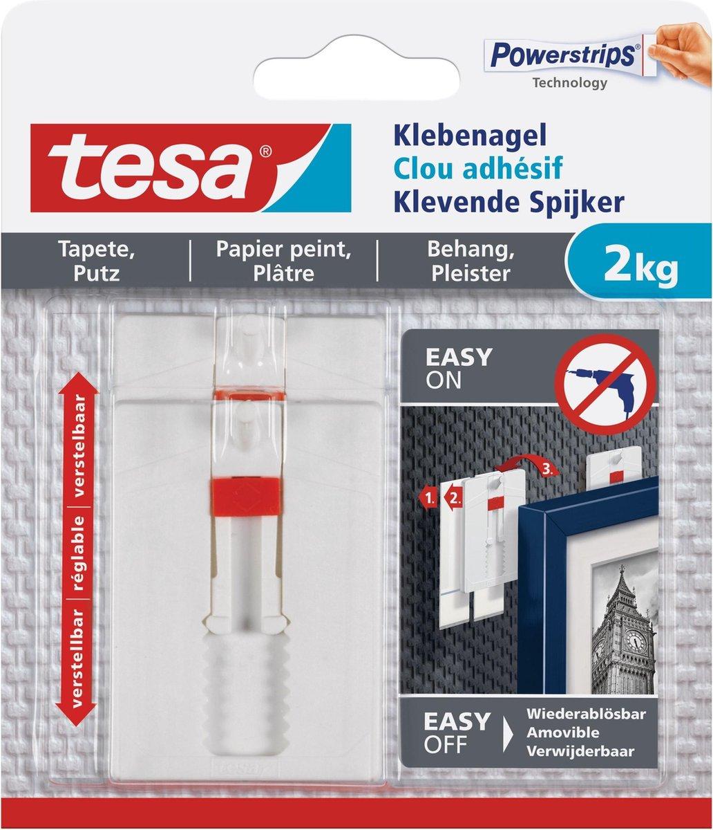 6x stuks Tesa klevende spijkers verstelbaar - wit - voor gevoelige oppervlakte als behang en pleiste