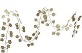 1x Kerstboom guirlande / slinger met gouden bladeren 200 cm - Kerstslingers/kerst guirlandes