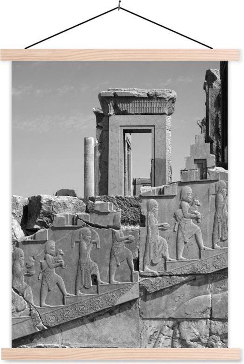 Ru nes in het Perzische Rijk - Zwart-Wit textielposter latten blank 40x53 cm - Foto print op schoolplaat (wanddecoratie woonkamer/slaapkamer)
