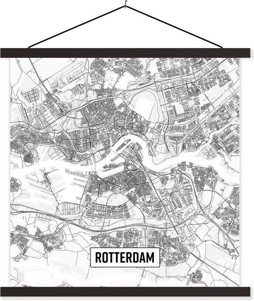Stadskaart Rotterdam textielposter latten zwart - Plattegrond 90x90 cm - Foto print op schoolplaat (wanddecoratie woonkamer/slaapkamer)