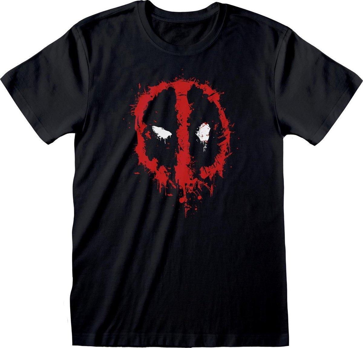 Deadpool Uniseks volwassen Splat T-Shirt (Zwart/Rood)