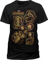 CID - Volwassen Unisex Avengers: Infinity War Block Karakters T-Shirt (Zwart)