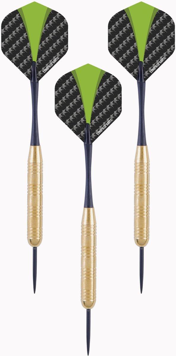 1x Set van 3 dartpijlen Longfield darts brass 23 grams - Darten/darts sport artikelen pijltjes messing - Kinderen/volwassenen