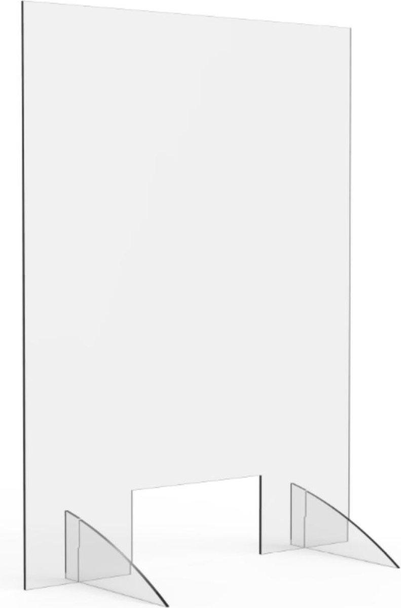 Hygienescherm OPUS 2 - 5mm - Breedte 750 x Hoogte 1000mm - voor sociale afstand - ter bescherming - makkelijk te monteren - mogelijkheid om aan het plafond te hangen - stevig acryl - voorzien van handig transactievenster.