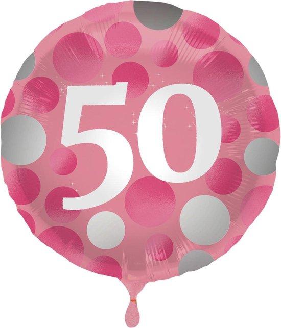 Folat Folieballon 50 Jaar 45 Cm Roze