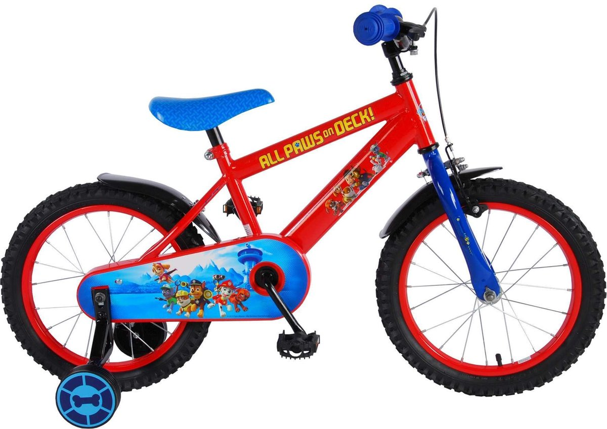 Paw Patrol Kinderfiets - Jongens - 16 inch - Rood/Blauw