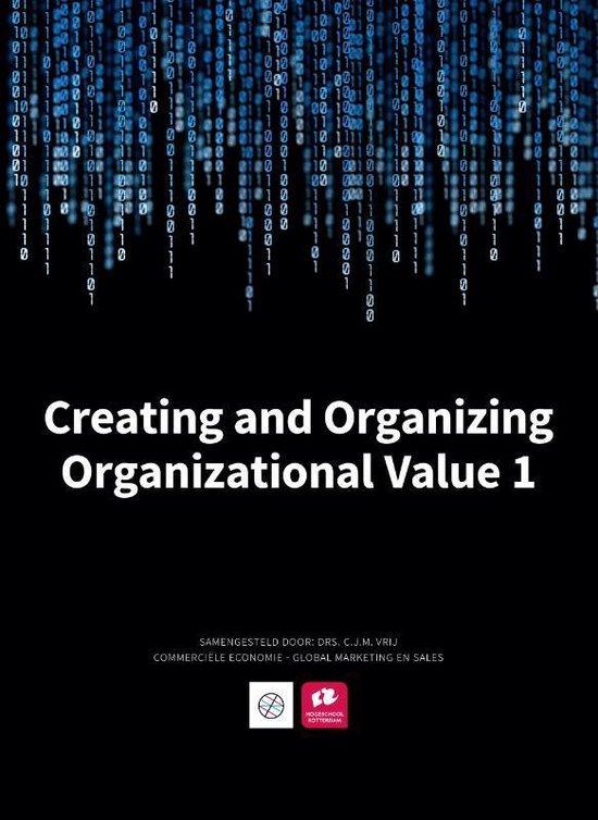 Boek cover Creating and organizing organizational value 1 van Fred Rorink (Paperback)