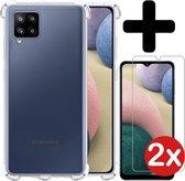 Samsung A12 Hoesje Shock Proof Case Met 2x Screenprotector - Samsung Galaxy A12 Hoesje Transparant Siliconen Case Cover - Samsung A12 Hoes Shockproof Met 2x Screenprotector