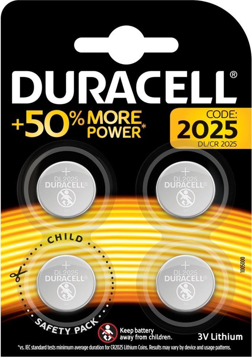 Duracell Lithium CR2025 knoopcelbatterij - 4 stuks