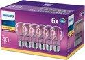 Philips LED Lichtbron - E27 - 4W (40W) - Warm Wit licht - Niet dimbaar - 6 stuks