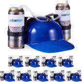 relaxdays 10 x drinkhelm voor 2 blikjes - helm - bierhelm - helm met slang - zuiphelm