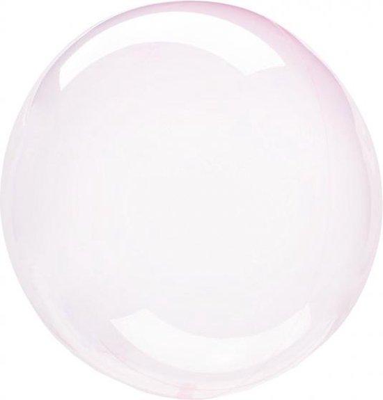 folieballon Clearz Crystal Clear 46 cm transparant roze