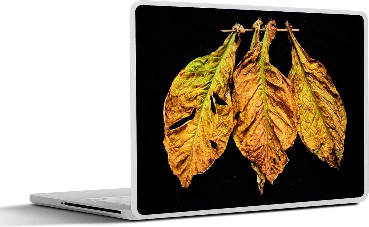 Laptop sticker - 10.1 inch - Meerdere tabaksbladeren op een zwarte achtergrond