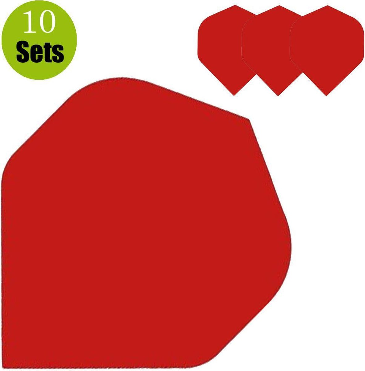 Poly Plain Dartflights - Rood- (10 Sets)