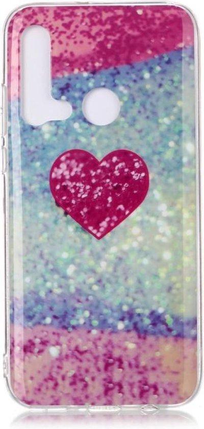 Let op type!! Voor Huawei P20 Lite gekleurde tekening patroon IMD vakmanschap zachte TPU beschermende case (rood hart)