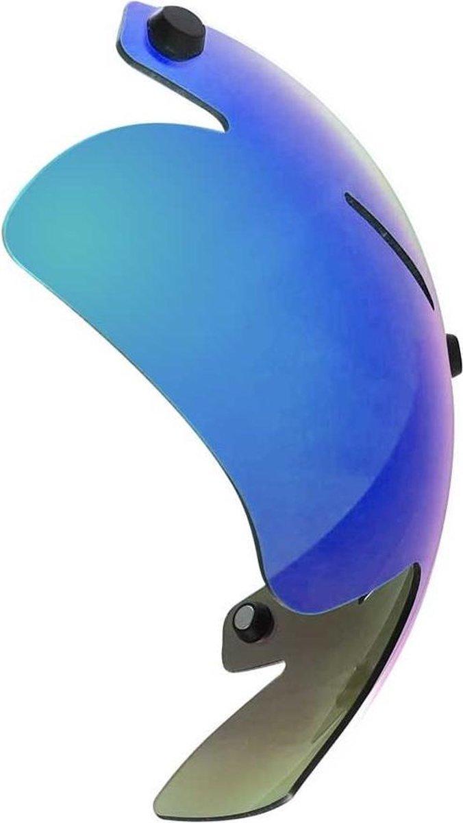 A2 vizier voor Alpha-2 Aero helm | Schaatshelm (donkere lens met blauw/groene coating)
