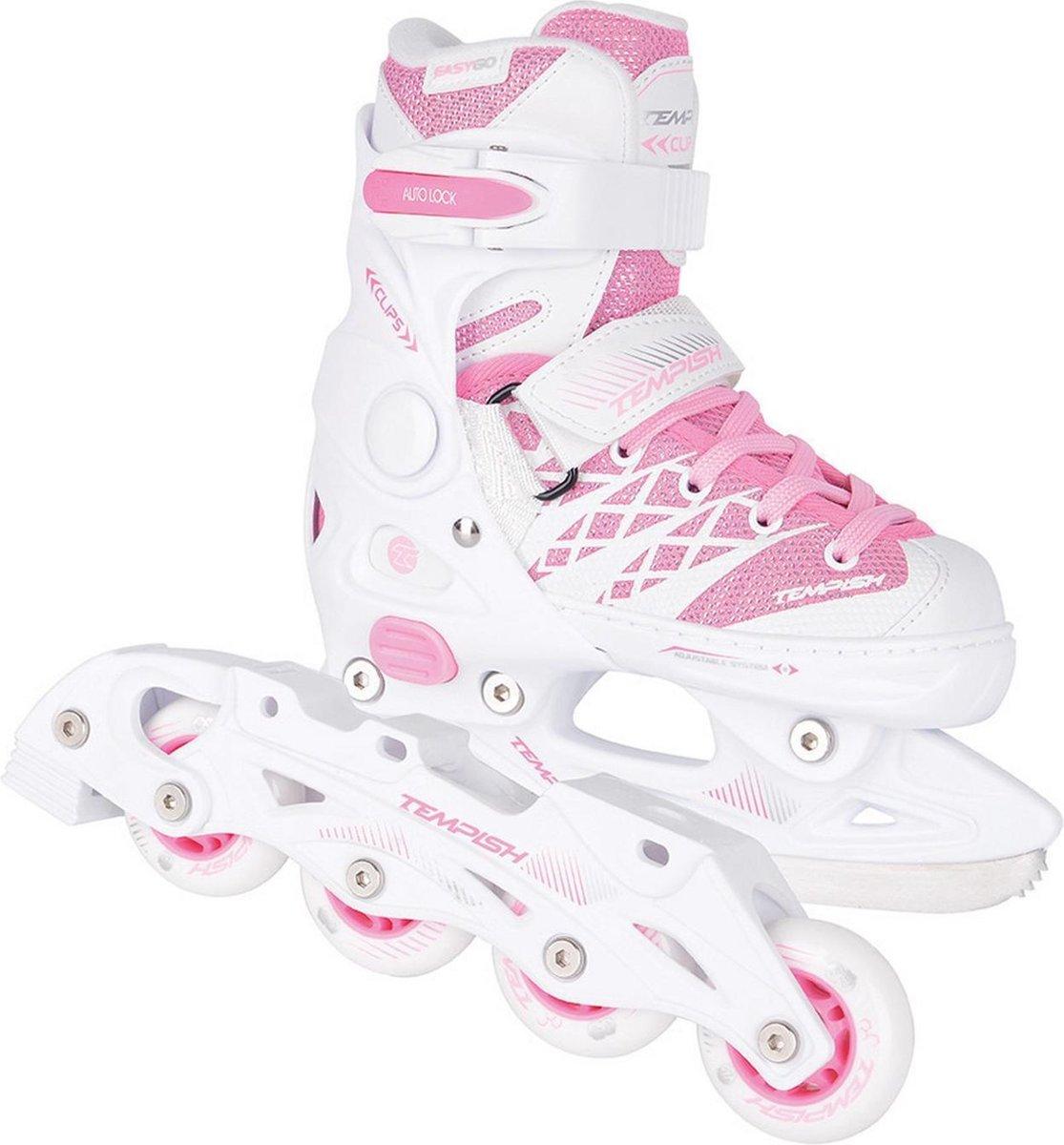 Tempish Kunstschaatsen/skates verstelbaar CLIPS DUO Meisjes Wit/Roze 29-32