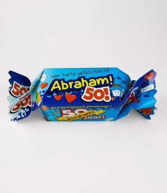 Snoeptoffee - 50 jaar - Abraham - Gevuld met verse dropmix - In cadeauverpakking met gekleurd lint