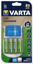 Varta LCD Charger + 4 x 2600 mAh NiMH batterijen