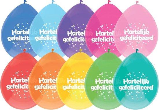 Ballonnen 'Hartelijk Gefeliciteerd' Multicolor Assorti  - 8 stuks