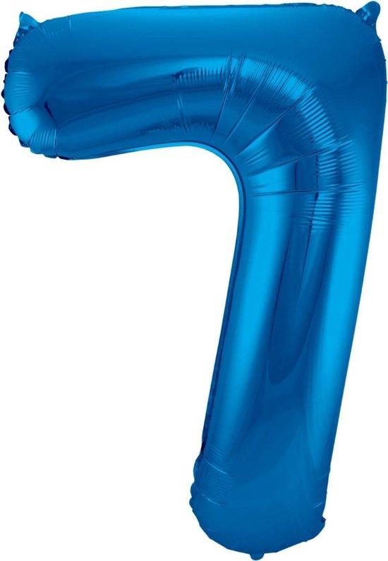 Ballon Cijfer 7 Jaar Blauw 70Cm Verjaardag Feestversiering Met Rietje