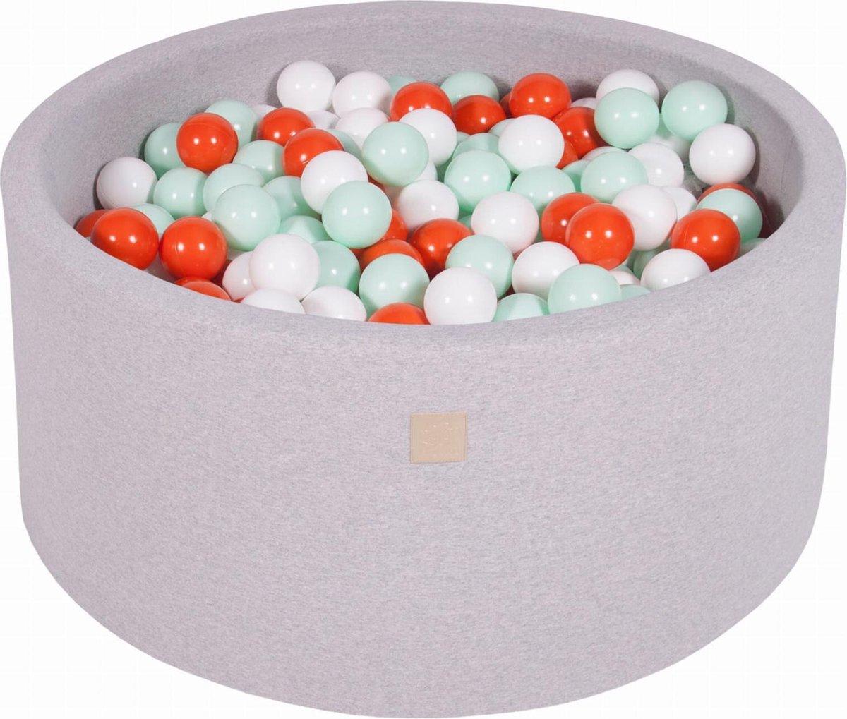 Ronde Ballenbak set incl 300 ballen 90x40cm - Licht Grijs: Oranje, Wit, Mint