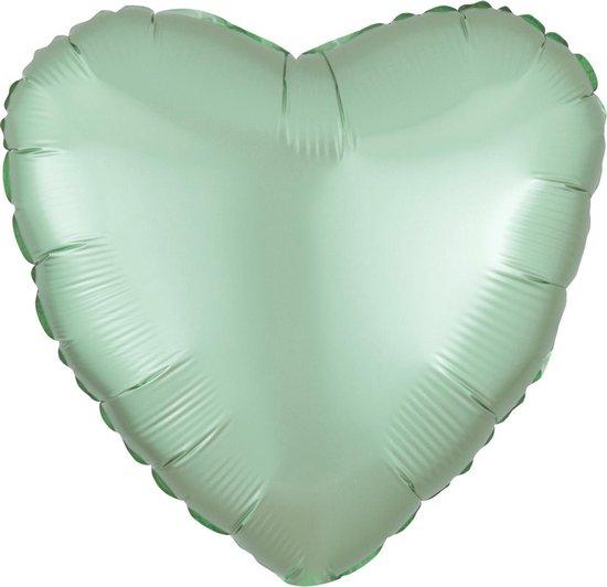Amscan Folieballon Pastel Heart 40 Cm Mintgroen
