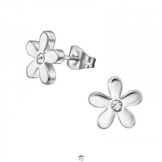 Oorbellen dames | Oorstekers | Chirurgisch stalen oorstekers, bloem met kristal