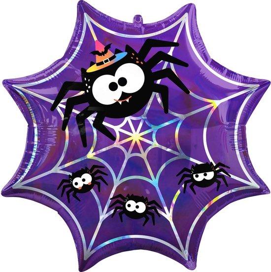Amscan Folieballon Iridescent Spiderweb 55 X 55 Cm Paars