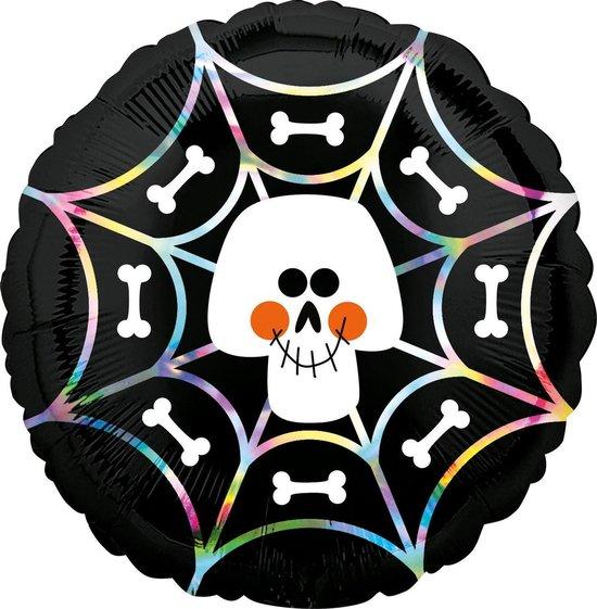 Amscan Folieballon Iridescent Skull Web 45 Cm Zwart/wit