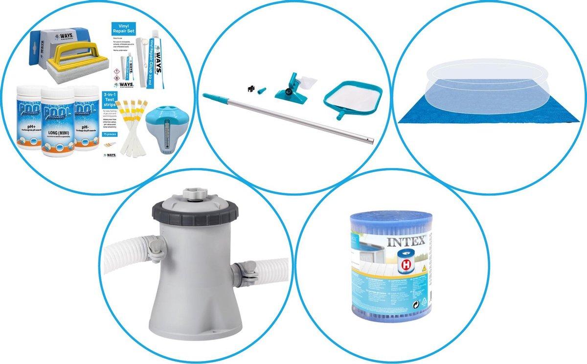 Zwembad Accessoirepakket 4-delig - WAYS Onderhoudspakket & Filterpomp (28602GS) + Filter & Onderhoudsset & Grondzeil