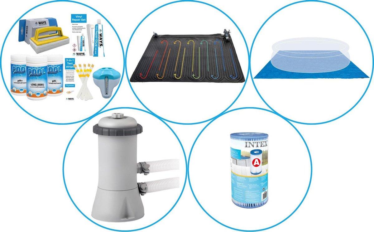 Zwembad Accessoirepakket 4-delig - WAYS Onderhoudspakket & Zwembad verwarming & Filterpomp (28604GS) + Filter & Grondzeil