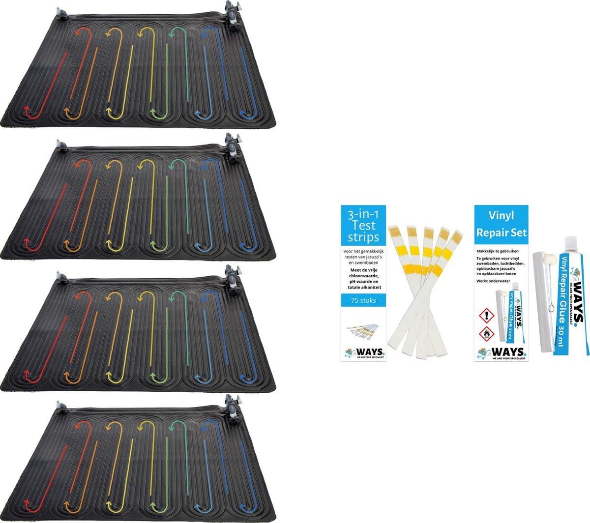 Intex - 4 stuks - Zwembad verwarming - Geschikt voor filterpomp 28604GS / 28638GS / 28636GS & WAYS Reparatieset en Teststrips