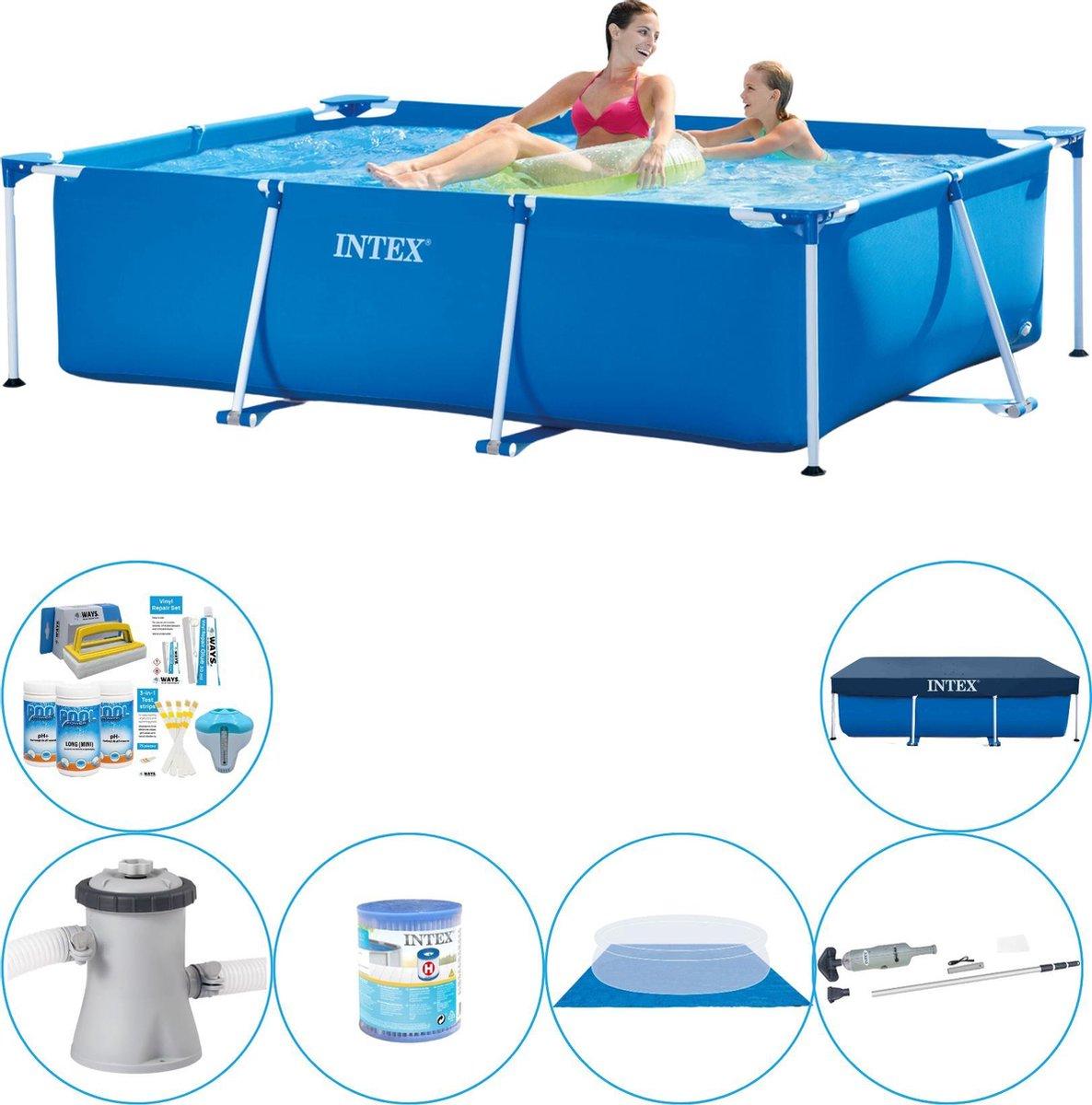 Intex Frame Pool Rechthoekig 220x150x60 cm - Zwembad Inclusief Accessoires