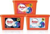 Robijn Wasmiddel 3 in 1 Capsules Kleur + Wit + Zwart - 3 x 15 wasbeurten - Voordeelverpakking