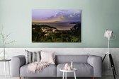 Zonsondergang over het Arenal meer in Costa Rica Canvas 180x120 cm - Foto print op Canvas schilderij (Wanddecoratie woonkamer / slaapkamer) XXL / Groot formaat!