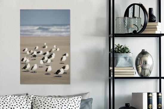 Groep grote mantelmeeuwen op het strand bij zee Canvas 40x60 cm - Foto print op Canvas schilderij (Wanddecoratie woonkamer / slaapkamer)