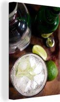 Gin tonic gemixt met ijs en limoen Canvas 40x60 cm - Foto print op Canvas schilderij (Wanddecoratie woonkamer / slaapkamer)