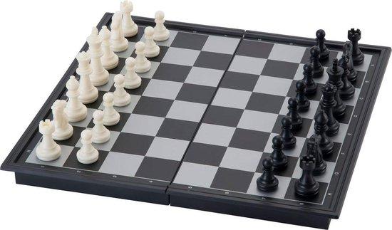 Reis schaak spel, magnetisch, opklapbaar. Afm. 24 x 24 cm