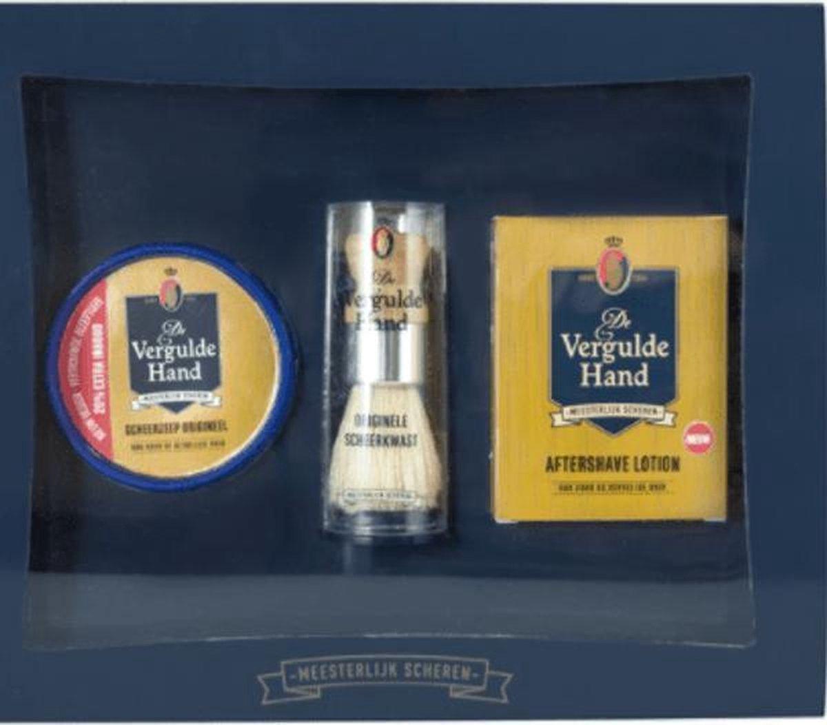 De Vergulde Hand Geschenkset (3-delig) - Scheerzeep + Scheerkwast + Aftershave Lotion