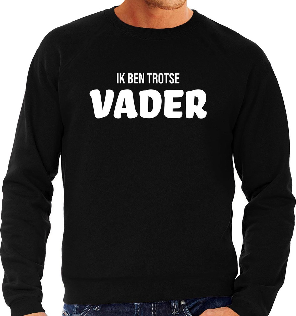 Ik ben trotse vader - sweater zwart voor heren - papa kado trui / vaderdag cadeau M