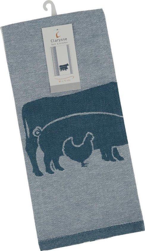 Clarysse Theedoek Farm Animals Blauw 50x70cm
