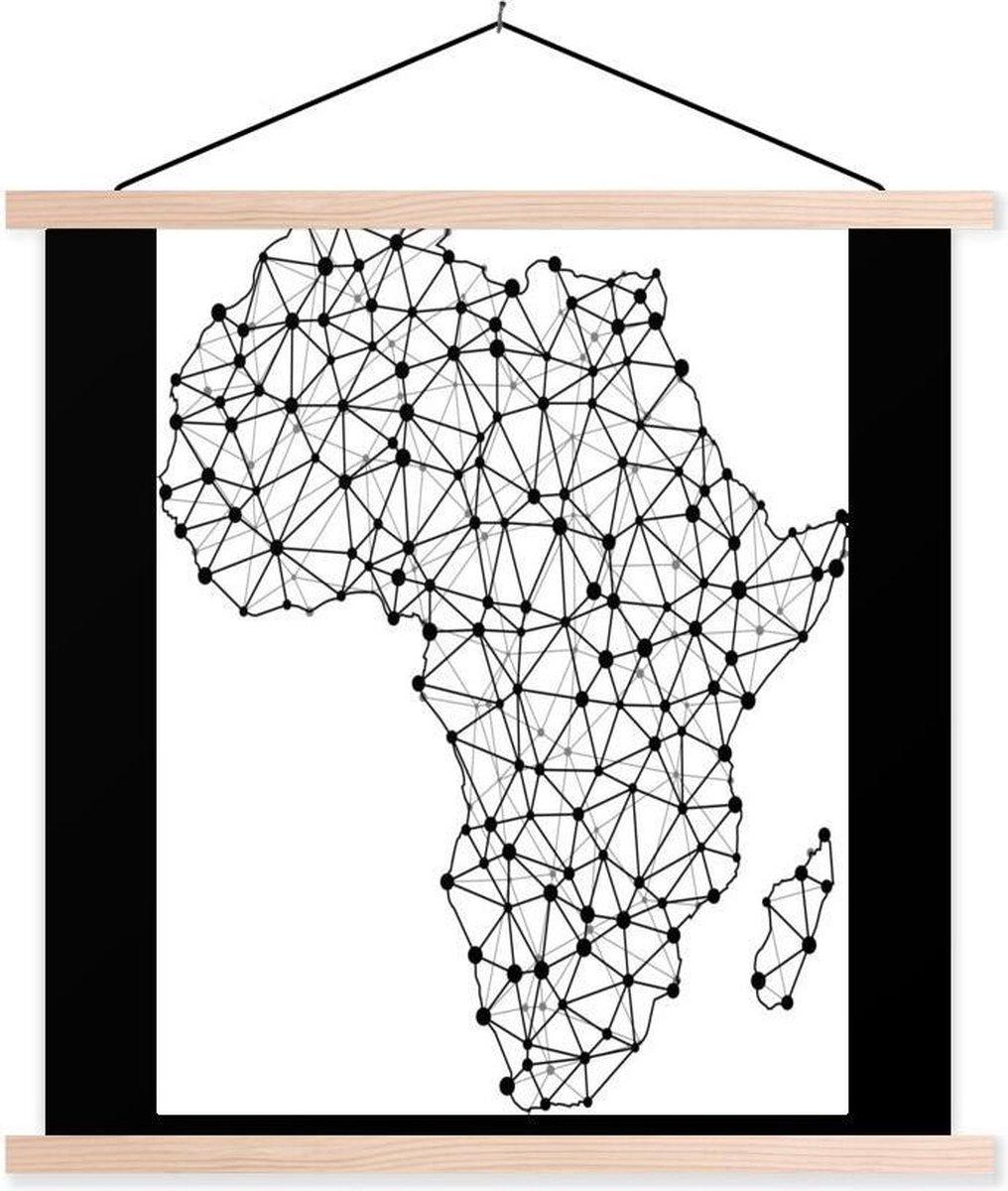 Kaart van Afrika met knoppunten textielposter latten blank 40x40 cm - Foto print op schoolplaat (wanddecoratie woonkamer/slaapkamer)