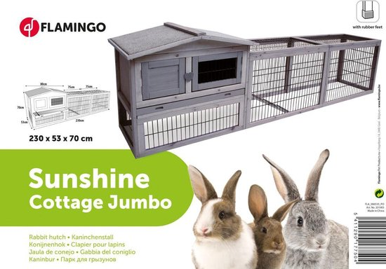 Karlie Flamingo Sunshine Jumbo Cottage - Konijnenhok - 230 x 53 x 70 cm - Flamingo