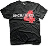 UNCHARTED 4 - T-Shirt Distressed Logo - Black (L)