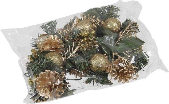Set 6x gouden decoraties op stekers 12 cm - kerststukje onderdelen/stekertjes - Kerstversiering/kerstdecoratie