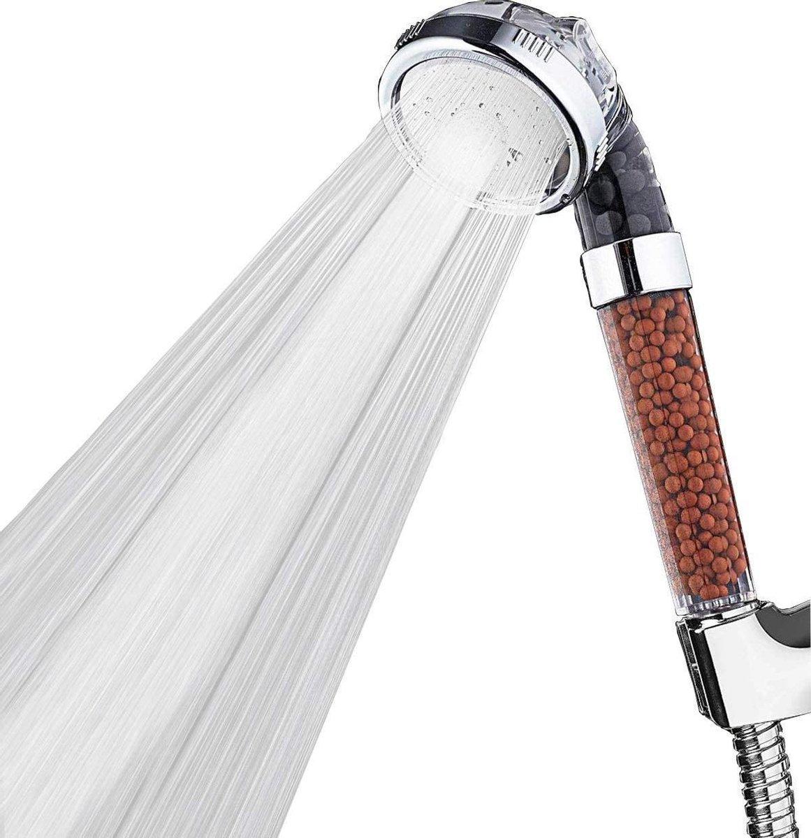 Iridescent douchekop ionisch   Waterbesparende douchekop 3 functies   Hoge druk transparant