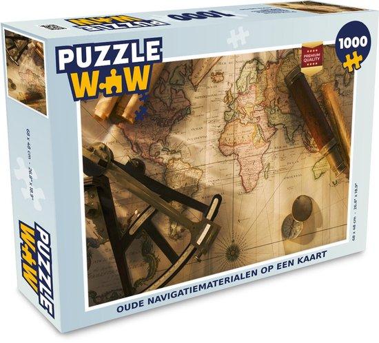 Puzzel 1000 stukjes volwassenen Ouderwets navigatiemateriaal 1000 stukjes - Oude navigatiematerialen op een kaart  - PuzzleWow heeft +100000 puzzels