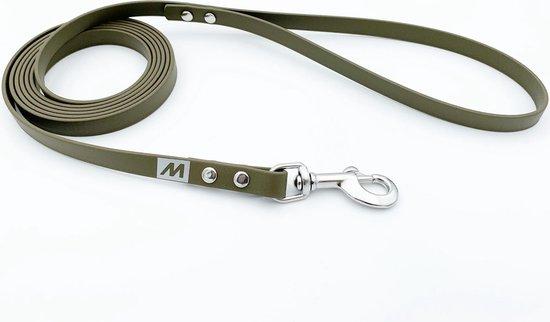 Miqdi BioThane hondenriem – olijf groen – 13 mm breed - 5 meter lang - met handvat